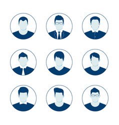 user account avatar blue man user icon set vector image