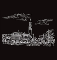Venice drawing st marks square vector