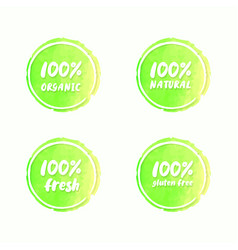 Water color organic natural sign label vector