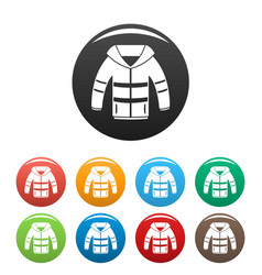 winter jacket icons set color vector image
