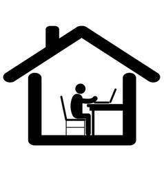 Working from home pictogram depicting man working vector
