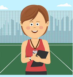 Young female coach stands on school playground vector