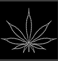cannabis marijuana leaf white color path icon vector image