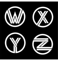 Capital letters w x y z double white stripe vector