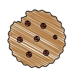 Color drawing pencil cartoon cookie snack food vector