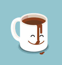 funny cartoon characters coffee cup vector image
