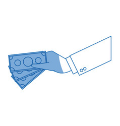 hand businessman with money bill pay vector image