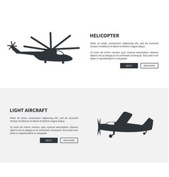 helicopter and light aircraft set of black banners vector image vector image
