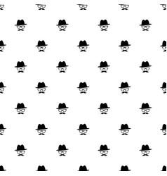pattern with black gentleman portrait icon vector image vector image