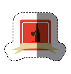 red emblem wine bottle with glass icon vector image