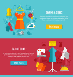 sewing clothes banners set vector image vector image