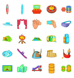 Cultural rest icons set cartoon style vector