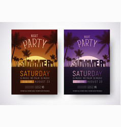 design of posters for a night summer party vector image vector image
