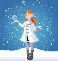 snow girl vector image