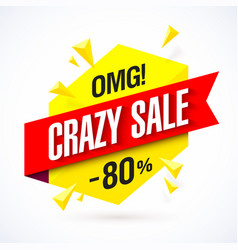 crazy sale poster vector image vector image