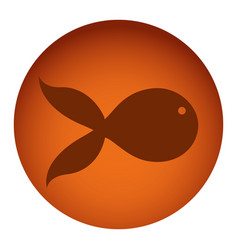 orange color circular frame with silhouette fish vector image vector image
