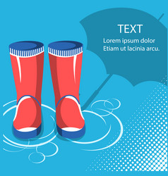 Rain backgroundred rubber boots with umbrella vector