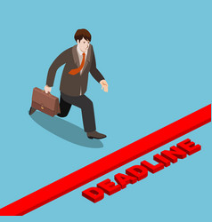 businessman run to deadline isometric vector image vector image