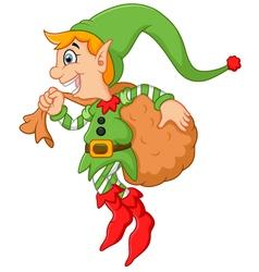 Cartoon cute elf boy with sack vector image