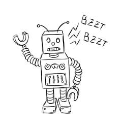 cute robot doodle vector image