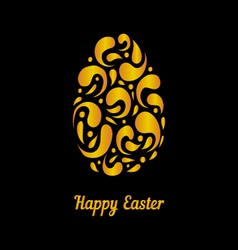 Greeting card with gold easter egg-2 vector image vector image