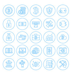 line circle bitcoin icons vector image vector image