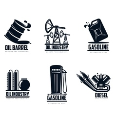 set of logos with oil and petrol station vector image
