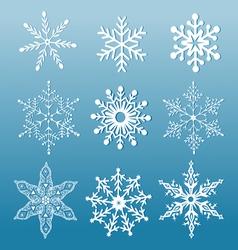 Set of ornamental snowflakes vector