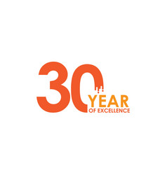 30 year excellence template design vector