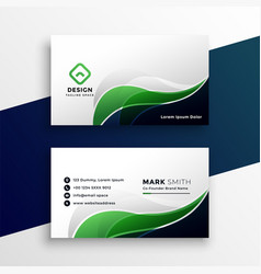 abstract green visiting card design template vector image