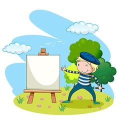 Artist painting on canvas in garden vector