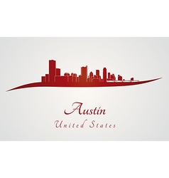 Austin skyline in red vector
