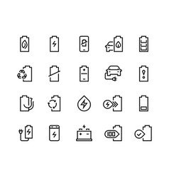 battery line icons electric energy charger car vector image