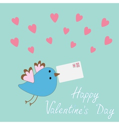 Bird with letter and hearts Happy Valentine Day vector