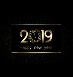 black 2019 new year background with clock vector image