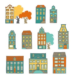 Bright hand-drawn buildings vector