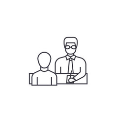 businessman giving instructions line icon vector image