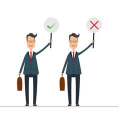 Businessman in blue suit hold right and wrong vector