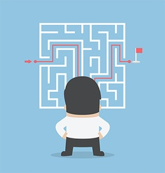 Businessman standing in front a maze vector