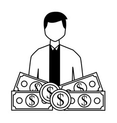 businessman with money banknote and coins vector image