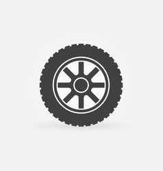 Car wheel simple icon - car service symbol vector