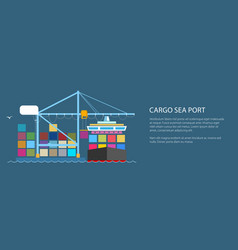 cargo container ship at seaport vector image