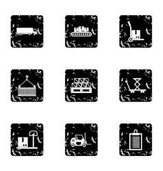Cargo icons set grunge style vector