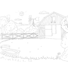 Cartoon farm color book black and white outline vector image