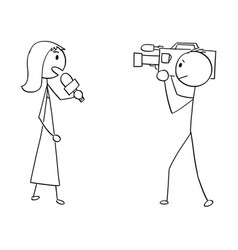 Cartoon of tv or television news woman female vector