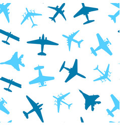 cartoon silhouette airplane seamless pattern vector image