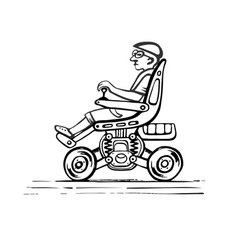 Citizen in an electric wheelchair vector