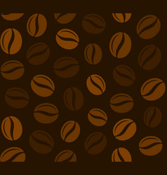 coffee grains seamless pattern on dark background vector image