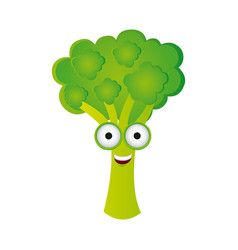 color kawaii happy broccoli icon vector image