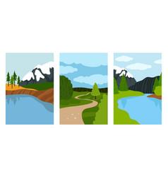 composition landscapes cards vector image